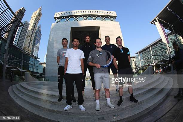 Leading riders Yousif Mirza, Mark Cavendish,Elia Viviani , Fabian Cancellara,Sir Bradley Wiggins and Marcel Kittel pose in the business district of...