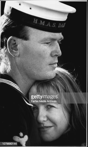 Leading Seaman Brian Woolmer and wife Wendy from DarwinTaken at Garden Island Naval BaseAustralian ships leave Sydney for the Gulf August 13 1990