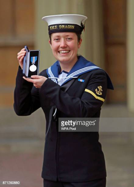 Leading Seaman Sally Hughes Royal Navy poses after she was awarded the Queen's Gallantry Medal for helping to save 14 people from a racing yacht in...