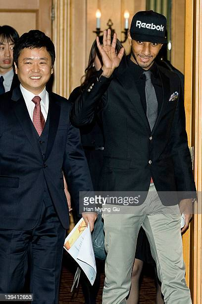 Leading singer and producer Swizz Beatz attends during a press conference to announce his business alignment with a South Korean entertainment...