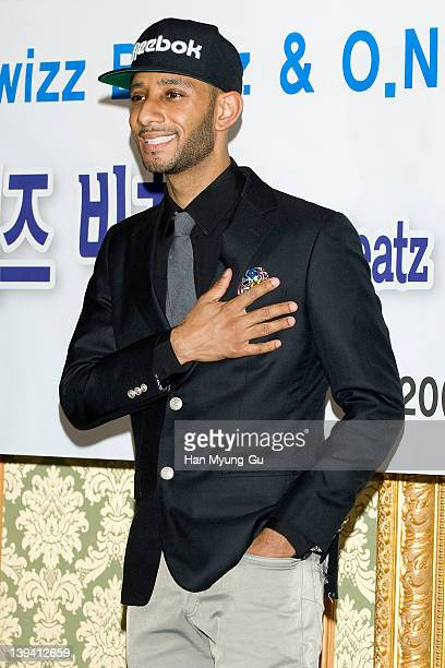 Leading singer and producer Swizz Beatz poses for media after a press conference to announce his business alignment with a South Korean entertainment...