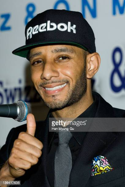 Leading singer and producer Swizz Beatz speaks during a press conference to announce his business alignment with a South Korean entertainment company...
