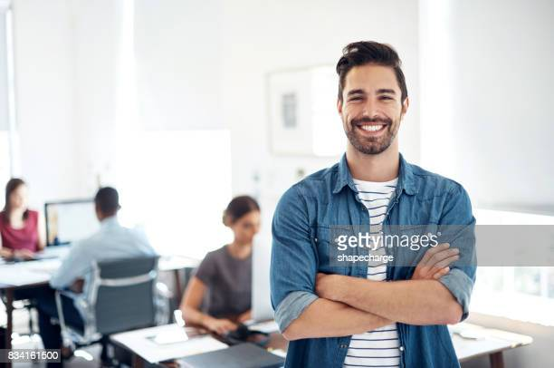 leading the way in creative business - man in office stock photos and pictures