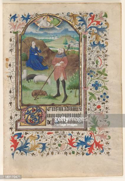 Leaf from a Book of Hours: Annunciation to the Shepherds, circa 1460. The anonymous painter of this leaf has been associated with other books of...