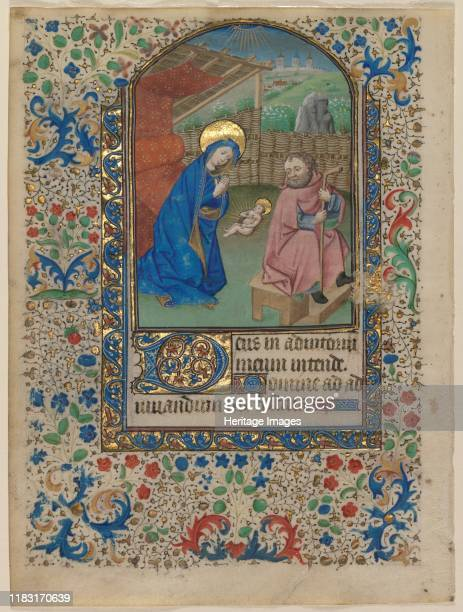 Leaf from a Book of Hours: The Nativity and Text , circa 1430. Representing God's entry into the world, the Nativity remains one of medieval...