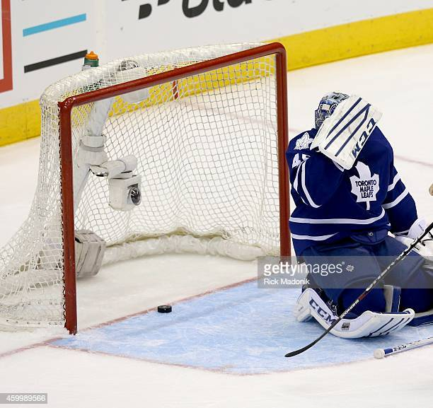 TORONTO DECEMBER 4 Leaf goalie Jonathan Bernier after giving up another goal Toronto Maple Leafs vs New Jersey Devils during 2nd period action at the...