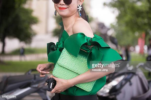 Leaf Greener green details at the Giambattista Valli show at Grand Palais on July 4 2016 in Paris France