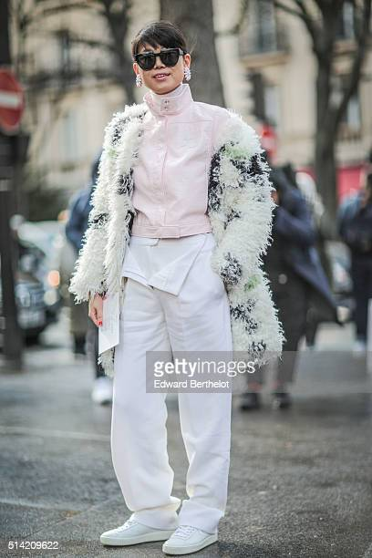 Leaf Greener is seen after the Giambattista Valli show during Paris Fashion Week Womenswear Fall Winter 2016/2017 on March 7 2016 in Paris France