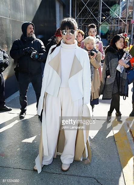 Leaf Greener is seen arriving for the Calvin Klein Collection Fall 2016 New York Fashion Week The Shows at Spring Studios on February 18 2016 in New...