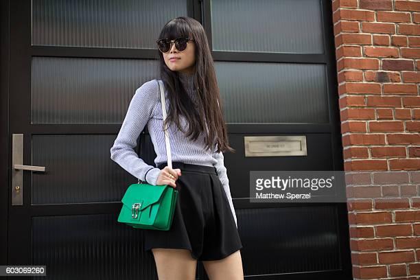 Leaf Greener is seen attending Tibi during New York Fashion Week on September 10 2016 in New York City