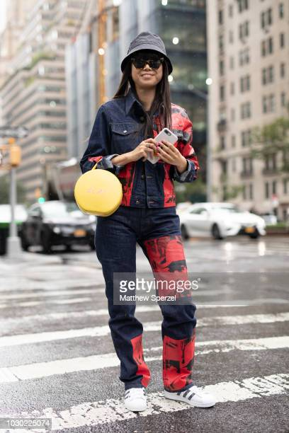 Leaf Greener is seen on the street during New York Fashion Week SS19 wearing Ralph Lauren on September 9 2018 in New York City