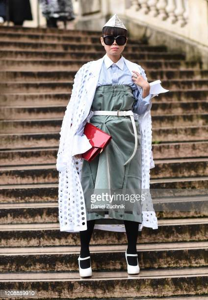 Leaf Greener is seen wearing a Margiela outfit outside the Maison Margiela show during Paris Fashion Week: AW20 on February 26, 2020 in Paris, France.