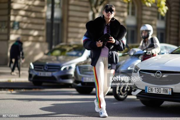 Leaf Greener outside Thom Browne during Paris Fashion Week Womenswear Spring/Summer 2018 on October 3 2017 in Paris France