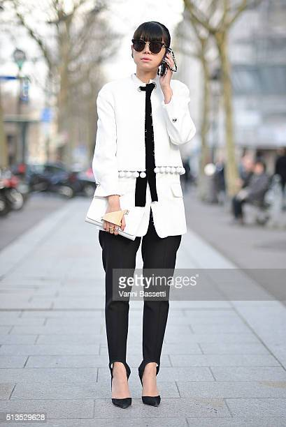 Leaf Greener poses after the Balmain show at the Hotel Potocki during Paris Fashion Week FW 16/17 on March 3 2016 in Paris France