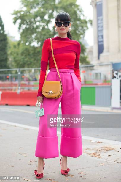 Leaf Greener poses after the Maison Margiela show at the Grand Palais during paris Fashion week Womenswear SS18 on September 27 2017 in Paris France