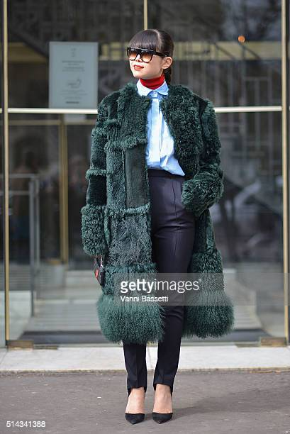 Leaf Greener poses wearing a Nina Ricci fur and Hermes shirt and pants after the Vanessa Seward show at the Thatre du Chatelet during Paris Fashion...
