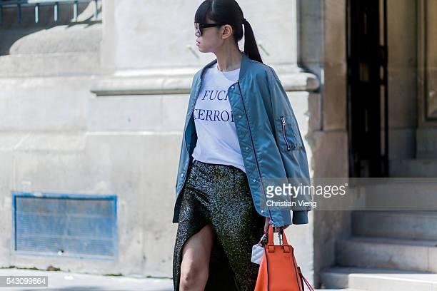 Leaf Greener wearing a Loewe bag outside during the Paris Fashion Week Menswear Spring/Summer 2017 on June 25 2016 in Paris France