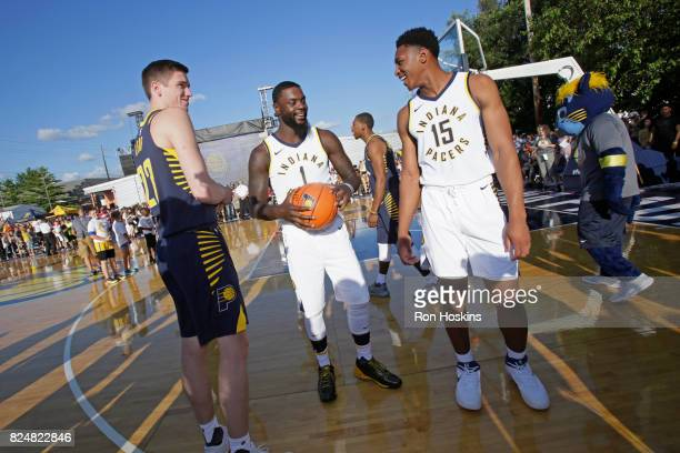 Leaf Lance Stephenson and Ike Anigbogu of theIndiana Pacers participate in an outdoor fanfest on July 28 2017 in Indianapolis Indiana NOTE TO USER...