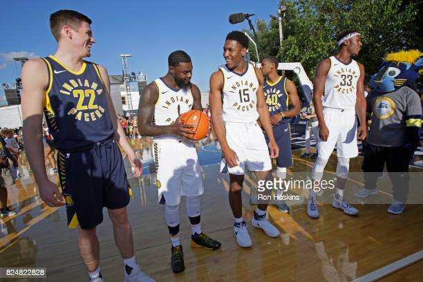Leaf Lance Stephenson Ike Anigbogu Glenn Robinson III and Myles Turner of theIndiana Pacers participate in an outdoor fanfest on July 28 2017 in...