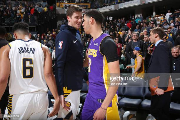 J Leaf of the Indiana Pacers and Lonzo Ball of the Los Angeles Lakers greet each other after the game on March 19 2018 at Bankers Life Fieldhouse in...