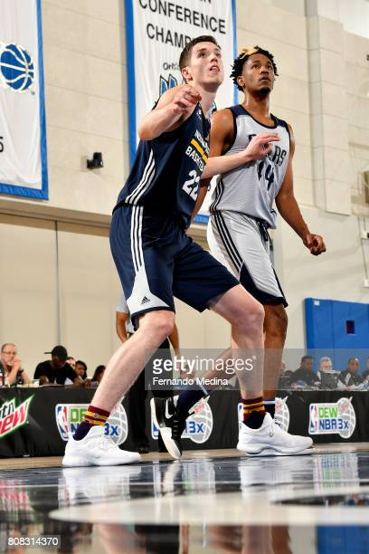 J Leaf of the Indiana Pacers boxes out against Luis Montero of the Dallas Mavericks during the 2017 Orlando Summer League on July 4 2017 at Amway...
