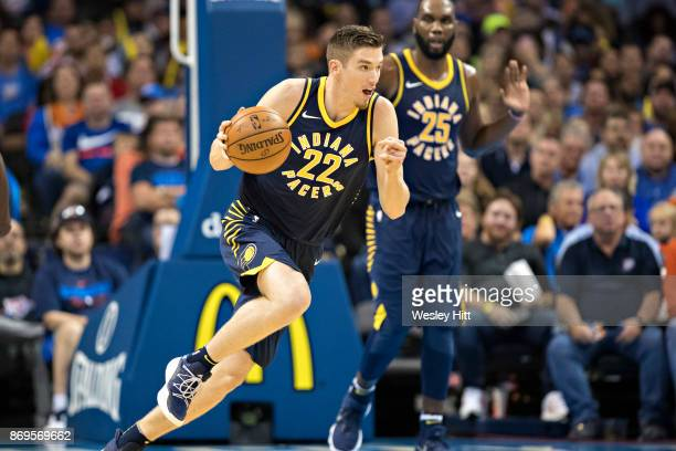 Leaf of the Indiana Pacers drives down the court during a game against the Oklahoma City Thunder at the Chesapeake Energy Arena on October 25 2017 in...