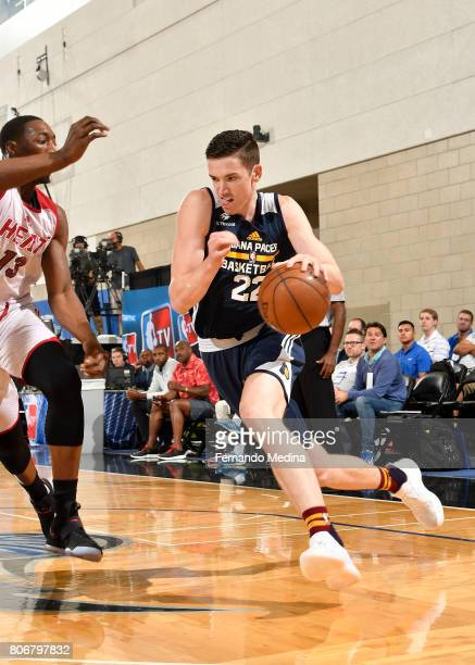 J Leaf of the Indiana Pacers drives to the basket against the Miami Heat on July 3 2017 during the 2017 Summer League at Amway Center in Orlando...