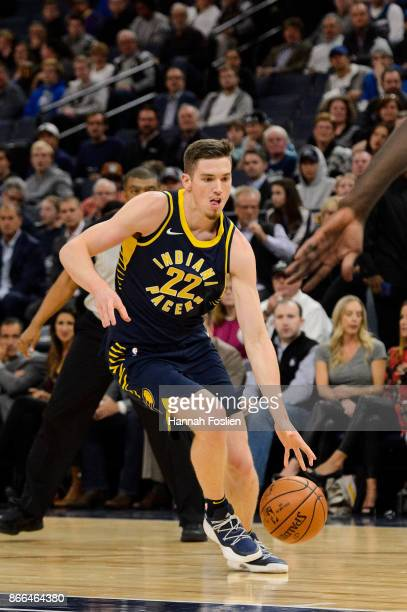 J Leaf of the Indiana Pacers drives to the basket against the Minnesota Timberwolves during the game on October 24 2017 at the Target Center in...