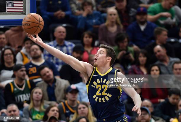 J Leaf of the Indiana Pacers grabs a first half rebound against the Utah Jazz at Vivint Smart Home Arena on January 15 2018 in Salt Lake City Utah...