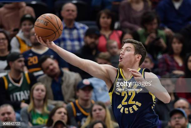 J Leaf of the Indiana Pacers grabs a rebound during a game against the Utah Jazz at Vivint Smart Home Arena on January 15 2018 in Salt Lake City Utah...