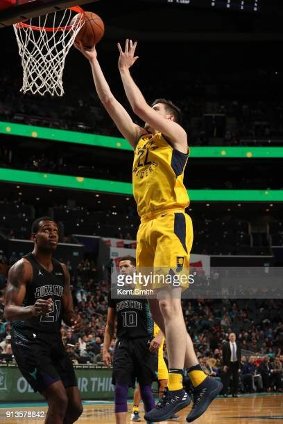 J Leaf of the Indiana Pacers handles the ball against the Charlotte Hornets on February 2 2018 at Spectrum Center in Charlotte North Carolina NOTE TO...