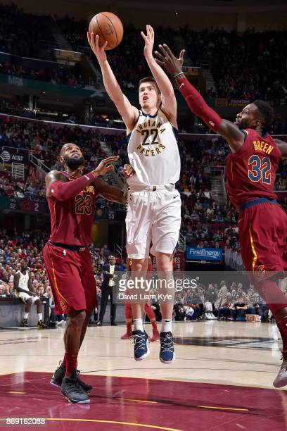 J Leaf of the Indiana Pacers handles the ball against the Cleveland Cavaliers on November 1 2017 at Quicken Loans Arena in Cleveland Ohio NOTE TO...