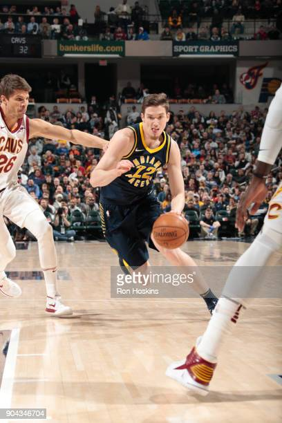 J Leaf of the Indiana Pacers handles the ball against the Cleveland Cavaliers on January 12 2018 at Bankers Life Fieldhouse in Indianapolis Indiana...