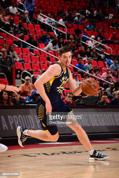 J Leaf of the Indiana Pacers handles the ball against the Detroit Pistons on October 9 2017 at Little Caesars Arena in Detroit Michigan NOTE TO USER...