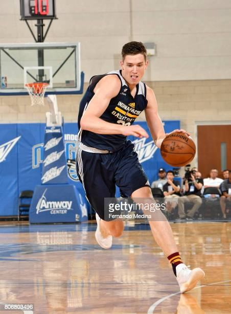 J Leaf of the Indiana Pacers handles the ball against the Miami Heat on July 3 2017 during the 2017 Summer League at Amway Center in Orlando Florida...