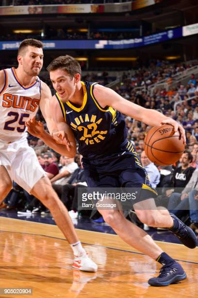 J Leaf of the Indiana Pacers handles the ball against the Phoenix Suns on January 14 2018 at Talking Stick Resort Arena in Phoenix Arizona NOTE TO...