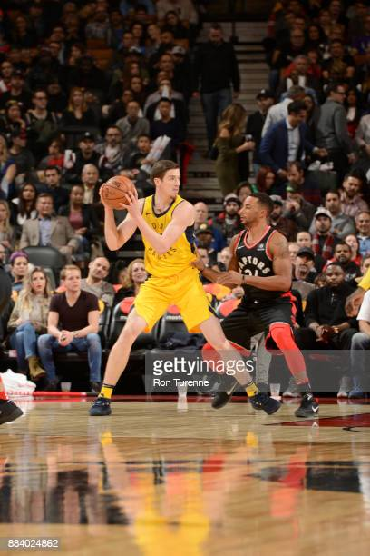 J Leaf of the Indiana Pacers handles the ball against the Toronto Raptors on December 1 2017 at the Air Canada Centre in Toronto Ontario Canada NOTE...