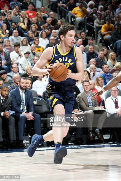 J Leaf of the Indiana Pacers handles the ball against the Utah Jazz on January 15 2018 at vivintSmartHome Arena in Salt Lake City Utah NOTE TO USER...