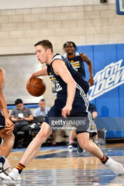 J Leaf of the Indiana Pacers handles the ball during the game against the Dallas Mavericks during the 2017 Orlando Summer League on July 4 2017 at...