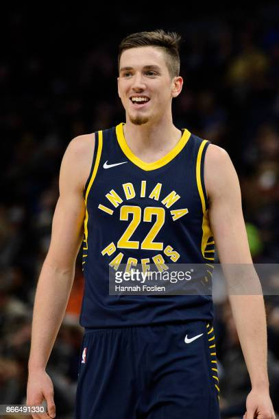 J Leaf of the Indiana Pacers looks on during the game against the Minnesota Timberwolves on October 24 2017 at the Target Center in Minneapolis...