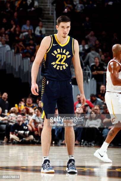 J Leaf of the Indiana Pacers looks on during the preseason game against the Cleveland Cavaliers on October 6 2017 at Quicken Loans Arena in Cleveland...