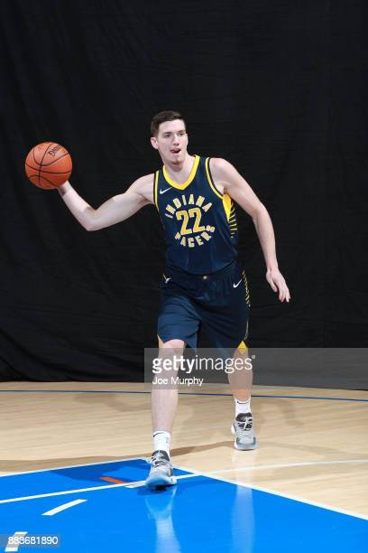J Leaf of the Indiana Pacers poses for a photo during the 2017 NBA Rookie Shoot on August 11 2017 at the Madison Square Garden Training Center in...