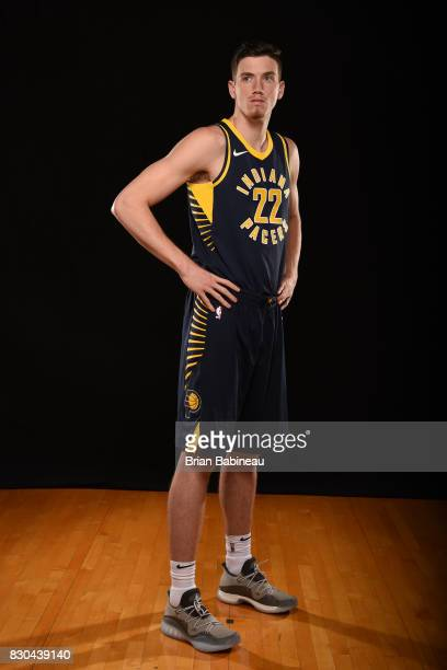 J Leaf of the Indiana Pacers poses for a photo during the 2017 NBA Rookie Photo Shoot at MSG training center on August 11 2017 in Tarrytown New York...