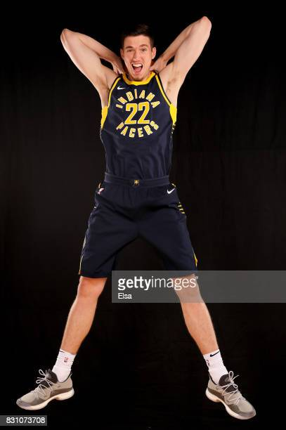 J Leaf of the Indiana Pacers poses for a portrait during the 2017 NBA Rookie Photo Shoot at MSG Training Center on August 11 2017 in Greenburgh New...
