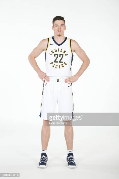 J Leaf of the Indiana Pacers poses for a portrait during the Pacers Media Day at Bankers Life Fieldhouse on September 25 2017 in Indianapolis Indiana...