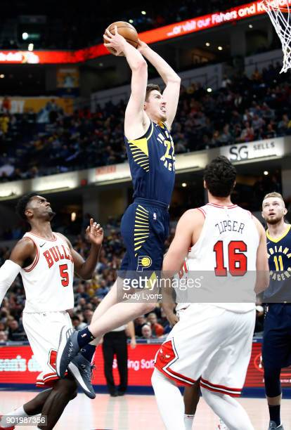 Leaf of the Indiana Pacers shoots the ball against the Chicago Bulls at Bankers Life Fieldhouse on January 6 2018 in Indianapolis Indiana NOTE TO...