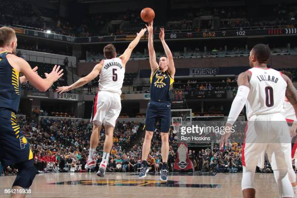 J Leaf of the Indiana Pacers shoots the ball against the Portland Trail Blazers on October 20 2017 at Bankers Life Fieldhouse in Indianapolis Indiana...