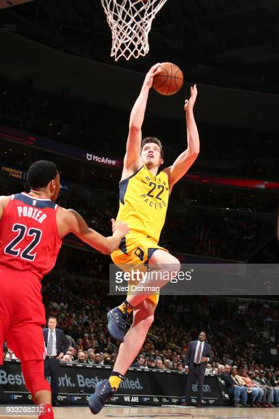 J Leaf of the Indiana Pacers shoots the ball against the Washington Wizards on March 17 2018 at Capital One Arena in Washington DC NOTE TO USER User...