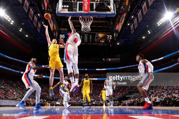 J Leaf of the Indiana Pacers shoots the ball during the game against the Detroit Pistons on December 26 2017 at Little Caesars Arena in Detroit...