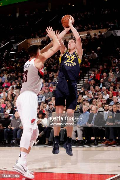 J Leaf of the Indiana Pacers shoots the ball during the game against the Portland Trail Blazers on January 18 2018 at the Moda Center in Portland...